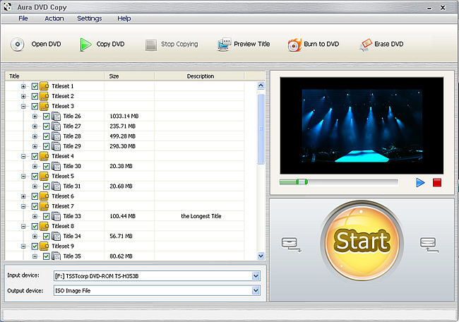 Software screenshot of Aura DVD copying software