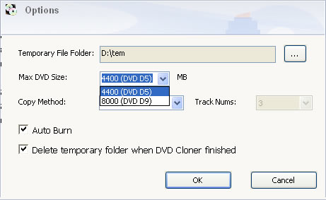 Select options for copy DVDs