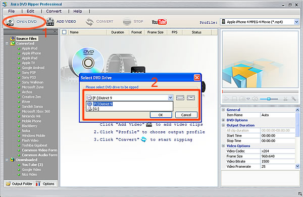 Ripping Avatar to videos step 1, load DVD