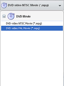 Select output to burn VOB to DVD