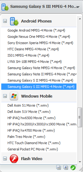 Convert videos for Samsung Galaxy S III