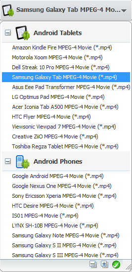 Convert videos for Samsung Galaxy Tab