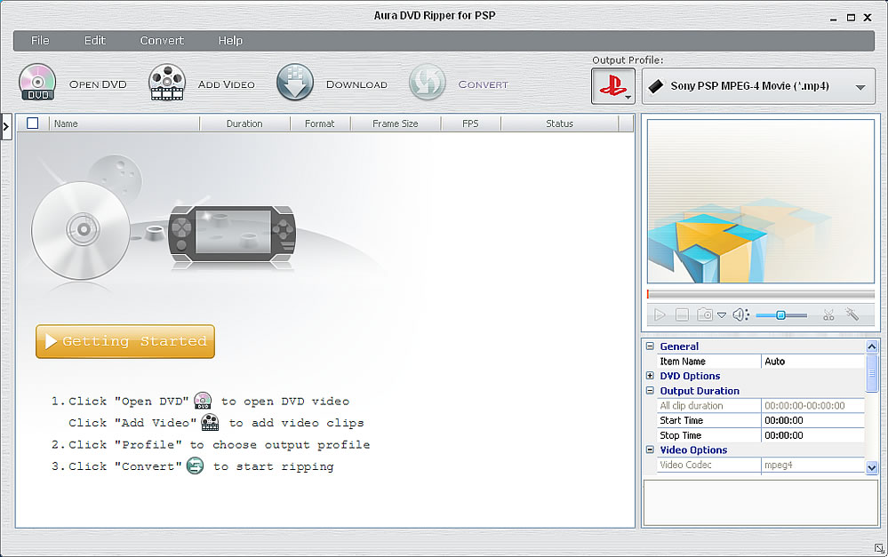 DVD to PSP ripping software screenshot