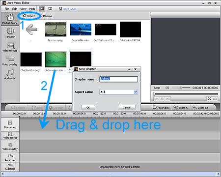 Add video video files to Aura Video Editor