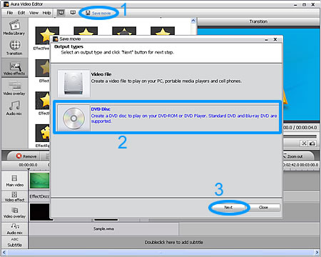 Select DVD Disc type to burn MPG to Blu-ray