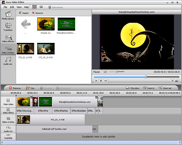 Aura Video Editor software screenshot