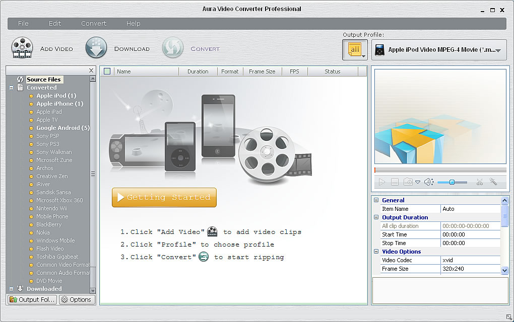 Main window of the video converter program