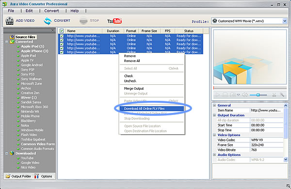 Download YouTube videos using the YouTube to WMA Converter