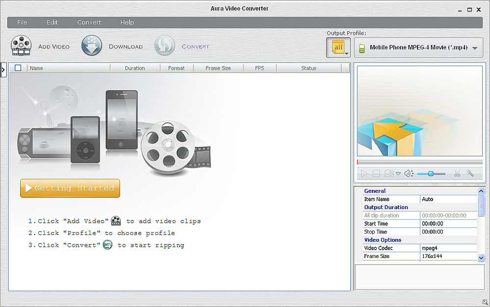 Program screenshot of the free video converter