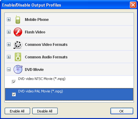 Custom output video profiles for the free video converter