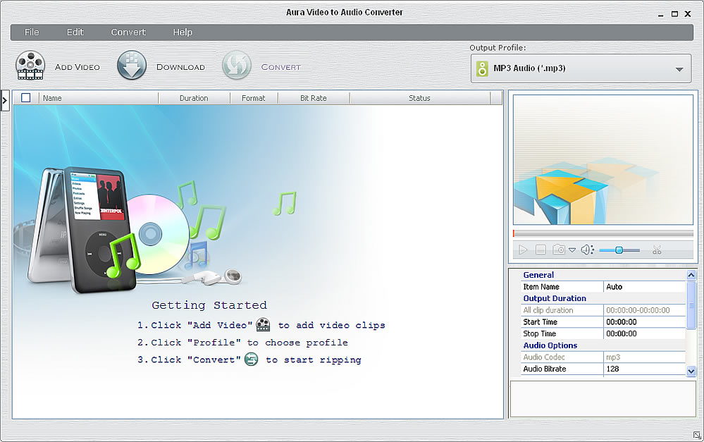 Main window of the Video to Audio Converter freeware